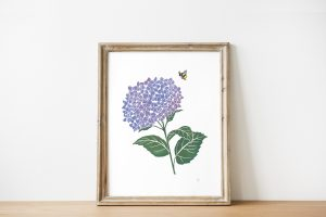 Harriette Rymer - Lilac Hydrangeas Lino Print with Bumblebee in wooden frame