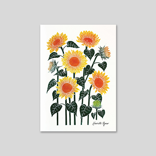 notecard of yellow sunflower lino print