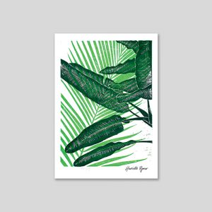 banana leaf and raffia leaves overlapping in different shades of green, lino cut pring