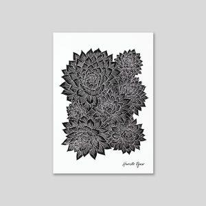 echeveria succulent black and white lino cut print