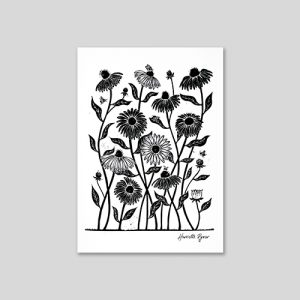 echinacea daisy flower lino cut print in black and white