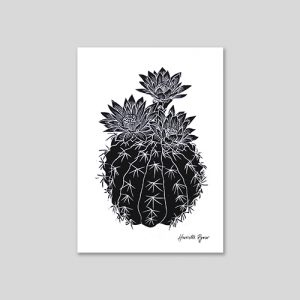 flowering cactus lino print in black ink