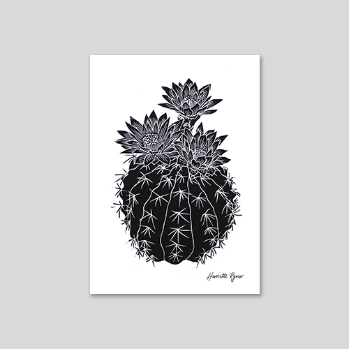 flowering cactus lino print in black ink