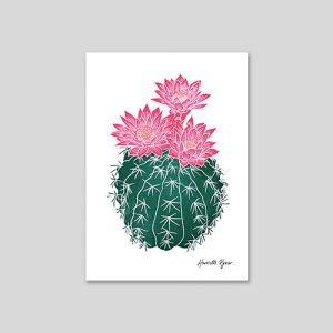flowering cactus lino cut print