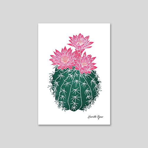 flowering cactus lino cut print