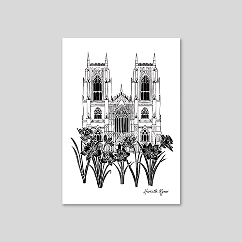 york minster with daffodils in the foreground lino cut print